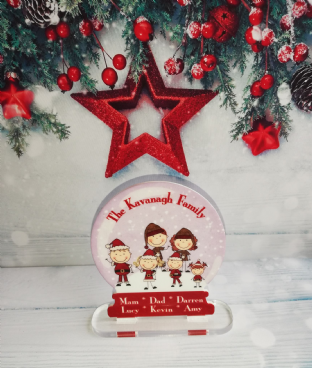 Our Family Snow Globe Standing Plaque
